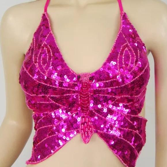 d3d6de3fa8e66 Hot pink sequin butterfly crop Top festival rave